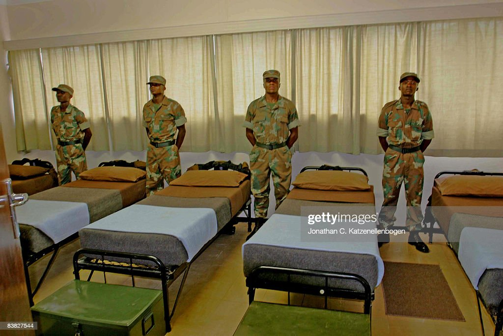 New recruits await inspection in their barracks by the Minister of Defence Mosiuoa Lekota at the South African Army's Infantry School in Oudtshoorn...
