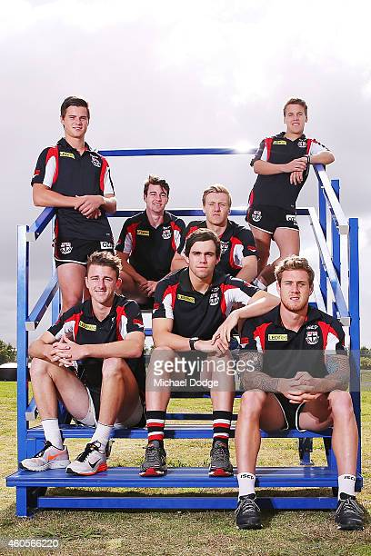 New recruits Jack Sinclair Daniel McKenzie Hugh Goddard and Jack Lonie pose with Brenton Payne Paddy McCartin and Tim Membrey during a St Kilda...