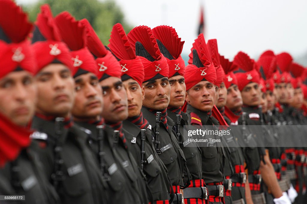 New recruits of the Jammu Kashmir Light Infantry Regiment (JKLIR) take part during passing out parade at an army base on May 24, 2016 near Srinagar, India.249 young men from Jammu & Kashmir were formally inducted into the Army Jammu and Kashmiri Light Infantry Regiment (JKLIR) after nine months of rigorous training.