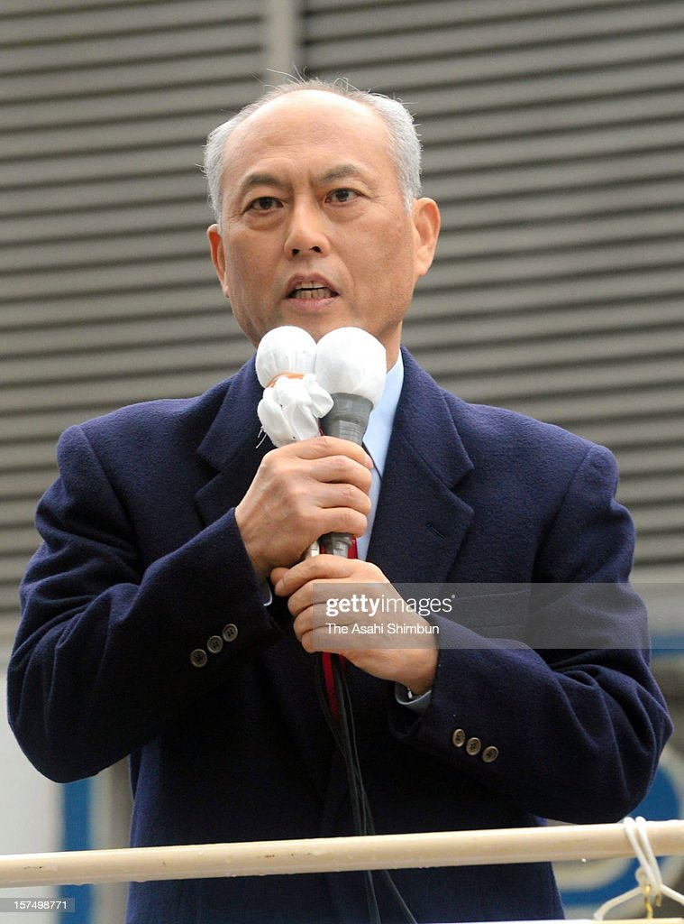 New Renaissance Party leader Yoichi Masuzoe makes a street speech on December 4, 2012 in Tokyo, Japan. The general election capmaign officially began for December 16, with the election issues such as nuclear power energy, economy growth and Trans Pacific Partnership negotiations.
