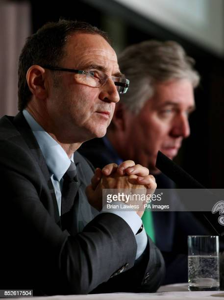 New Republic of Ireland manager Martin O'Neill with CEO of the FAI John Delaney during a press conference at the Gibson Hotel Dublin Ireland
