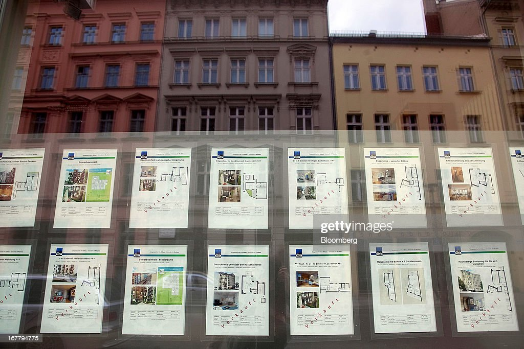 New residential apartments are advertised for sale, with some showing as 'Verkauft', or sold, in a real estate agents window in the Mitte district of Berlin, Germany, on Monday, April 29, 2013. Rents and home prices in Germany's largest cities are rising at the fastest rate in twenty years, according to data compiled by Bulwien Gesa AG. Photographer: Krisztian Bocsi/Bloomberg via Getty Images