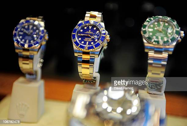 New Rolex Submariner watches are displayed during the presentation of the New Rolex Collection at Barcelona International Boat Show on November 12...