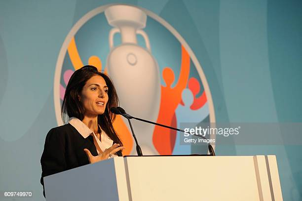 New Rome mayor Virginia Raggi delivers a speech during UEFA Euro Roma 2020 Official Logo Unveiling on September 22 2016 in Rome Italy