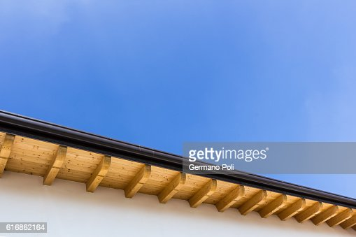 New roof with gutter : Stock Photo