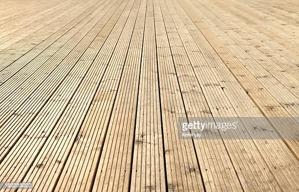New sanded wooden garden decking