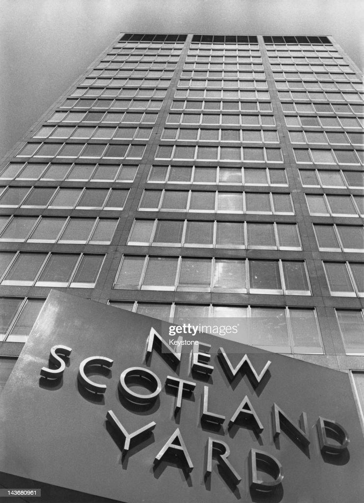 New Scotland Yard the headquarters of the Metropolitan Police Service in London circa 1960