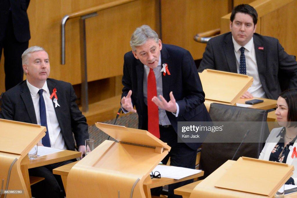 New Scottish Labour leader Richard Leonard speaking during First Minister's Questions in the Scottish Parliament, on November 30, 2017 in Edinburgh, Scotland.