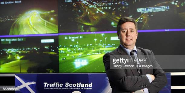 New Scottish transport minister Keith Brown at Transport Scotland's control room in Glasgow ahead of expected snow falls over night