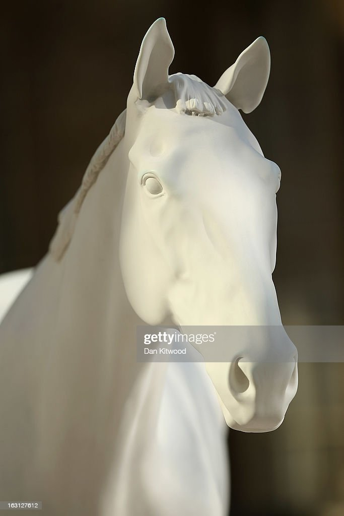 A new sculpture 'The White Horse' by Artist Mark Wallinger is unveiled outside the headquarters of The British Council on the Mall on March 5, 2013 in London, England. The British Council unveiled the marble and resin, life-size sculpture representing a thoroughbred racehorse, as it announced a GBP 7 million investment in work connecting UK-based creative talent overseas.
