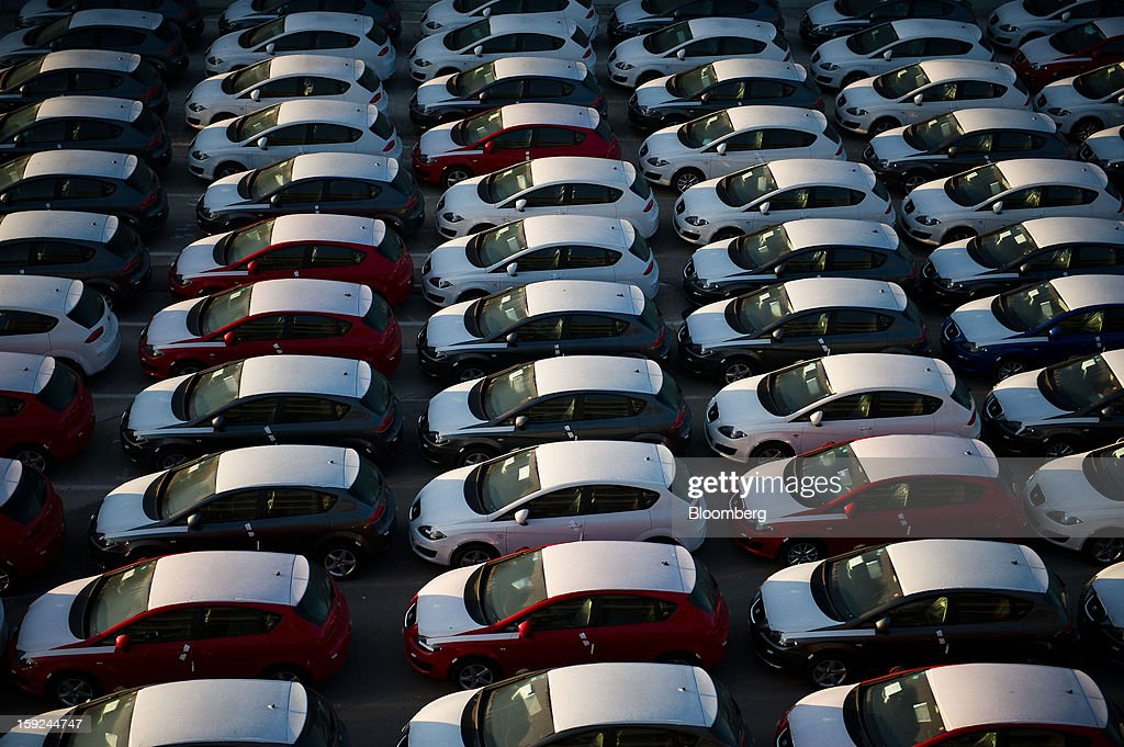 New Seat automobiles stand in a parking lot at the vehicle terminal before shipping at Barcelona port in Barcelona, Spain, on Thursday, Jan. 10, 2013. Spanish exports grew the least in five months in September as the euro area relapsed into a recession and the region's fourth-largest economy continued to contract. Photographer: David Ramos/Bloomberg via Getty Images