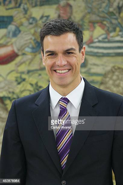 New Secretary General of Spanish Socialist Party Pedro Sanchez looks on before meeting with King Felipe VI of Spain at Zarzuela Palace on July 29...