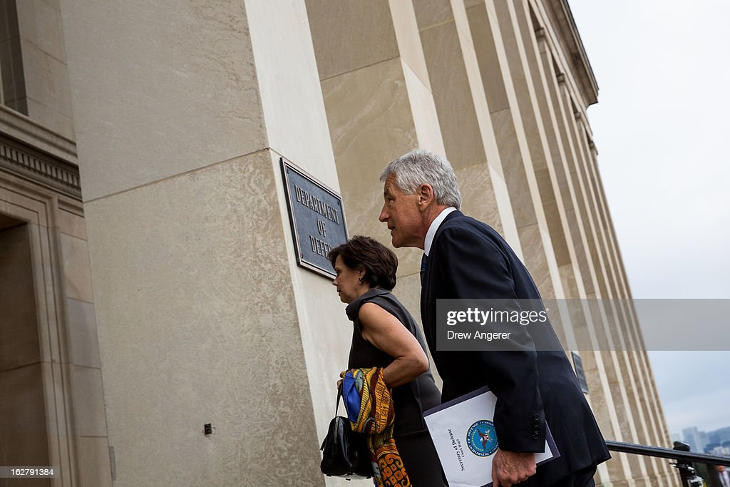 New Secretary of Defense Chuck Hagel, with his wife Lilibet Hagel, arrives for his first day at the Department of Defense, on February 27, 2013 in Arlington. Hagel will be sworn in Wednesday morning and deliver remarks to service members and employees later in the day.