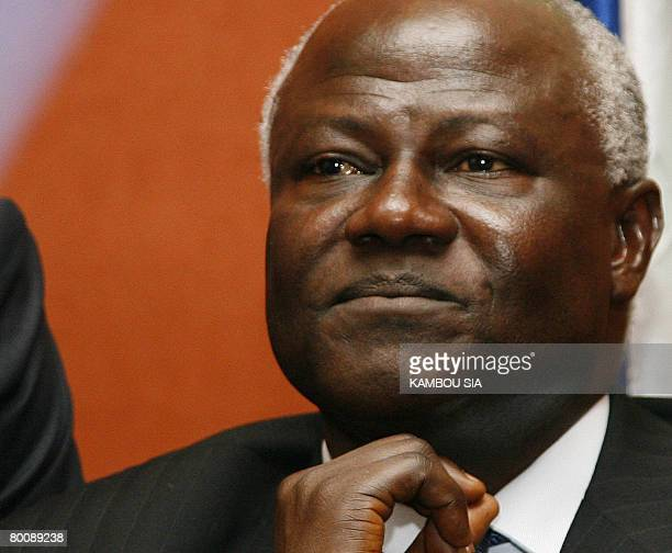 New Sierra Leone President Ernest Bai Koroma gives a press conference with Ivorian President Laurent Gbagbo on Koroma's arrival on March 3 2008 at...