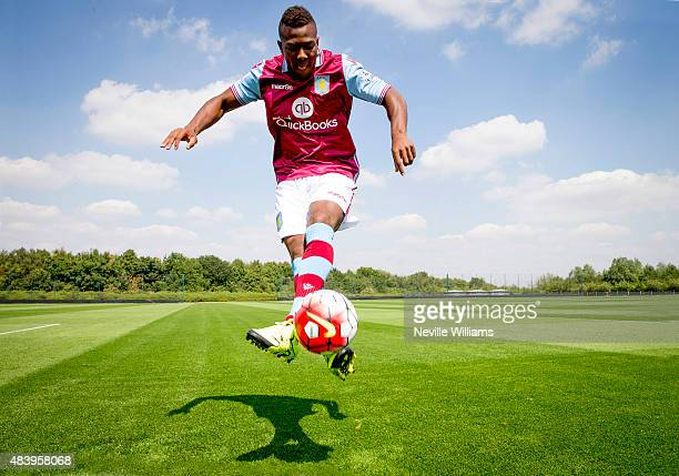 New signing Adama Traore of Aston Villa poses for a picture at the club's training ground at Bodymoor Heath on August 12 2015 in Birmingham England