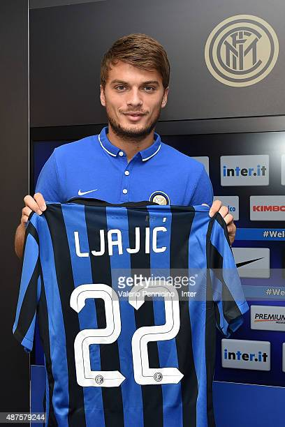 New signing Adem Ljajic of FC Internazionale Milano poses with the club shirt during a press conference at the club's training ground on September 10...
