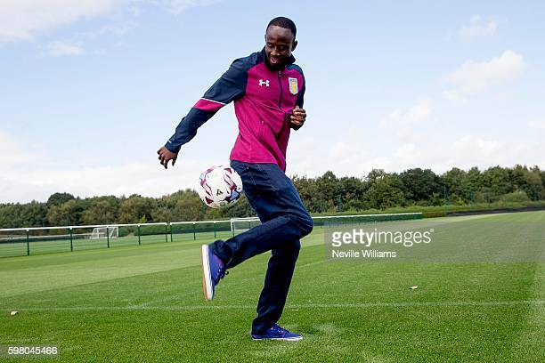 New signing Albert Adomah of Aston Villa poses for a picture at the club's training ground at Bodymoor Heath on August 31 2016 in Birmingham England