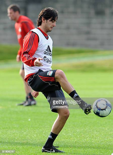 New signing Alberto Aquilani of Liverpool in action during a training session at Melwood on October 15 2009 in Liverpool England