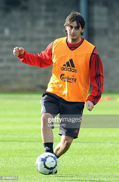 New signing Alberto Aquilani of Liverpool in action during his first Liverpool training session at Melwood on October 15 2009 in Liverpool England