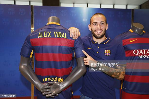 New signing Aleix Vidal is unveiled by FC Barcelona at Nou Camp on June 8 2015 in Barcelona Spain