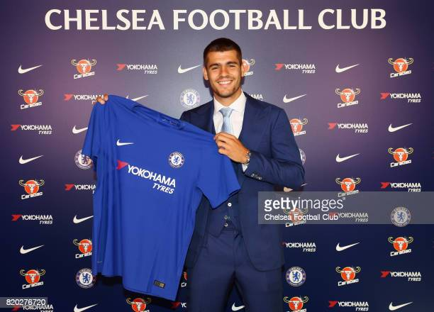 New Signing Alvaro Morata poses at Chelsea Training Ground on July 21 2017 in Cobham England