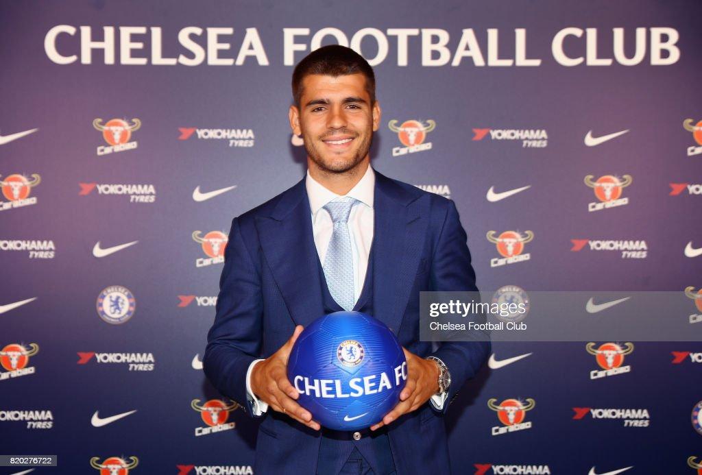 New Signing Alvaro Morata poses at Chelsea Training Ground on July 21, 2017 in Cobham, England.