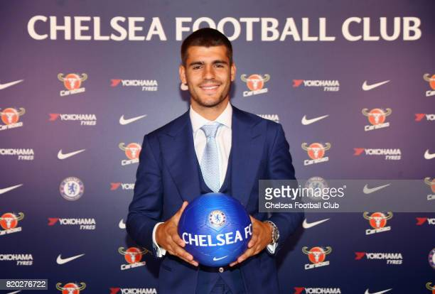 New Signing Alvaro Morata poses at Chelsea Training Ground on July 21 2017 in Cobham England