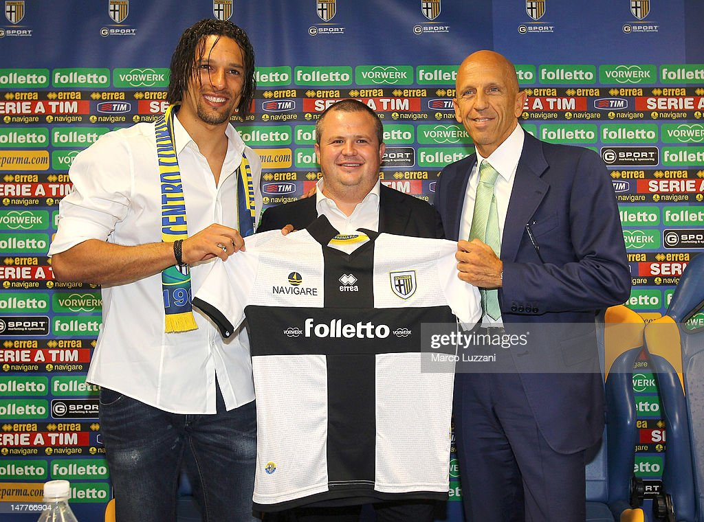 New signing Amauri Carvalho de Oliveira president of Parma FC Tommaso Ghirardi and Vorwerk Folletto President Patrizio Barsotti present the new team...