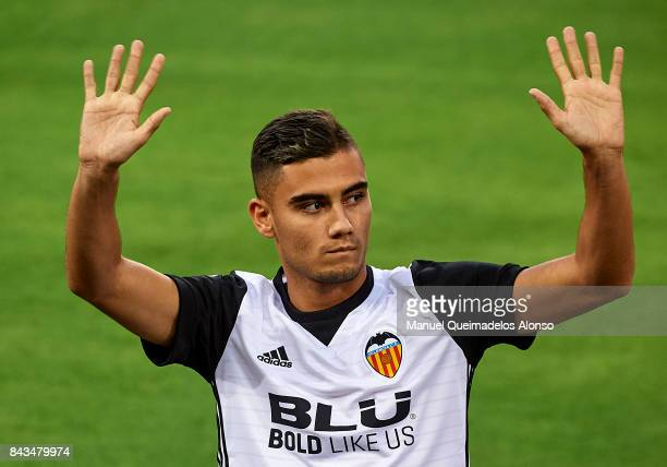 New signing Andreas Pereira of Valencia is presented to the crowd during an unveiling of players for the season 201718 at Estadio Mestalla on...
