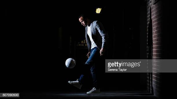 New Signing Andros Townsend juggles the ball for photographs in the crowd corridor at StJames' Park on January 27 in Newcastle upon Tyne England