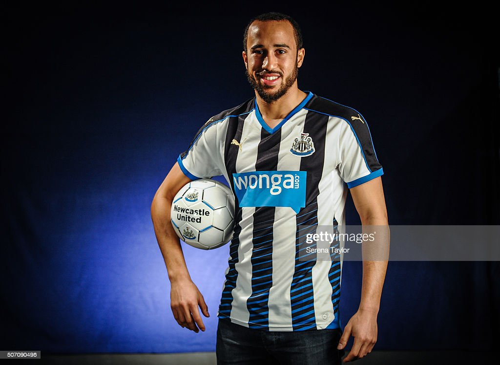 New Signing <a gi-track='captionPersonalityLinkClicked' href=/galleries/search?phrase=Andros+Townsend&family=editorial&specificpeople=4266573 ng-click='$event.stopPropagation()'>Andros Townsend</a> poses for photographs holding a Newcastle United Football at The Newcastle United Training Centre on January 27, 2016, in Newcastle upon Tyne, England.