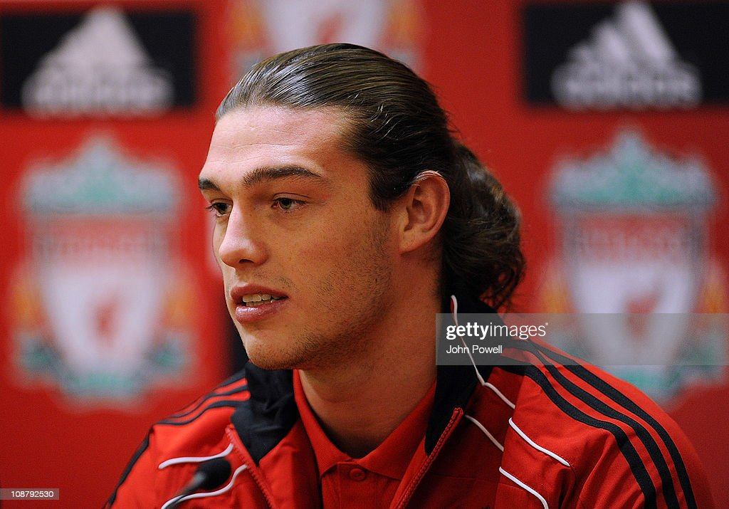 New signing Andy Carroll of Liverpool speaks to the media during a press conference at Anfield on February 3, 2011 in Liverpool, England.