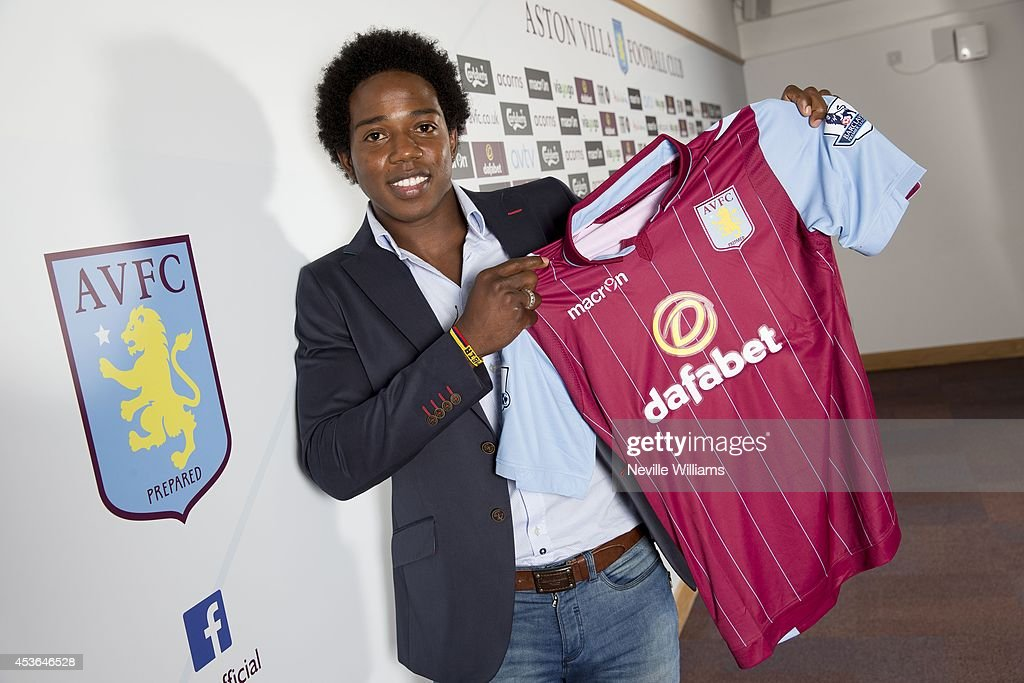 New signing Carlos Sanchez of Aston Villa poses for a picture at the club's training ground at Bodymoor Heath on August 15, 2014 in Birmingham, England.