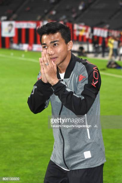 New signing Chanathip Songkrasin of Consadole Sappporo is introduced prior to the JLeague J1 match between Consadole Sapporo and Shimizu SPulse at...