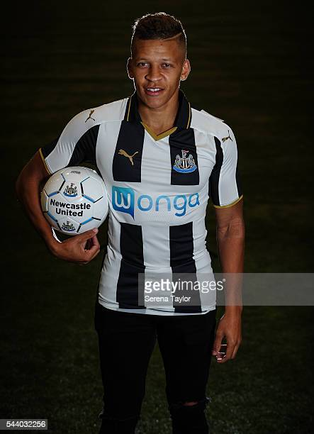 New signing Dwight Gale poses for a photograph wearing the new NUFC 2016/17 home shirt whilst holding a football in the indoor tent at The Newcastle...