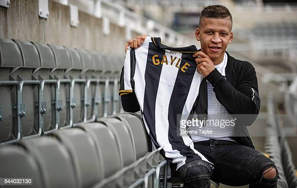 New signing Dwight Gale poses for a photograph with a named NUFC shirt in the stands at StJames' Park on June 30 2016 in Newcastle upon Tyne England