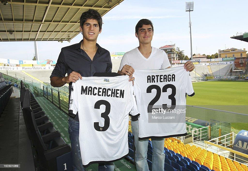 New signing Emilio MacEachen and Manuel Arteaga during their unveiling press conference at Ennio Tardini Stadium on September 18 2012 in Parma Italy