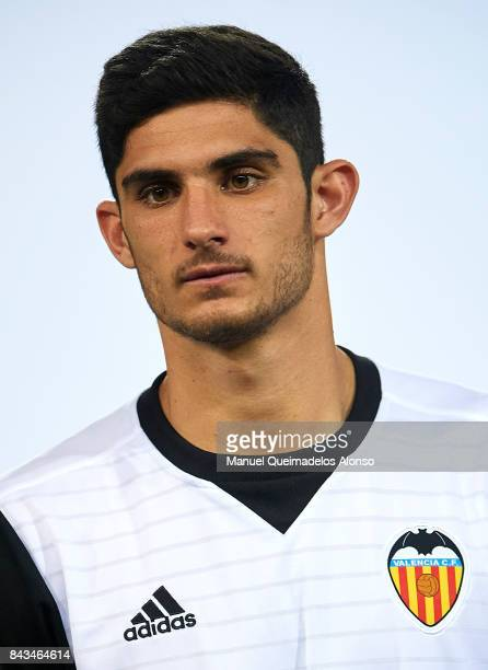 New signing Goncalo Guedes of Valencia is presented to the crowd during unveils the new players for season 201718 at Estadio Mestalla on September 6...