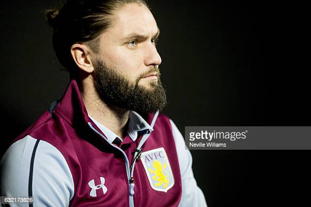 New signing Henri Lansbury of Aston Villa poses for a picture at the club's training ground at Bodymoor Heath on January 19 2017 in Birmingham England
