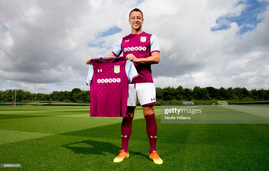 New signing John Terry of Aston Villa poses for a picture at the club's training ground at Bodymoor Heath on July 03, 2017 in Birmingham, England.