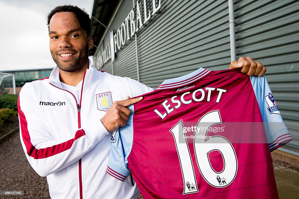 New signing <a gi-track='captionPersonalityLinkClicked' href=/galleries/search?phrase=Joleon+Lescott&family=editorial&specificpeople=687246 ng-click='$event.stopPropagation()'>Joleon Lescott</a> of Aston Villa poses for a picture at the club's training ground at Bodymoor Heath on September 1, 2015 in Birmingham, England.