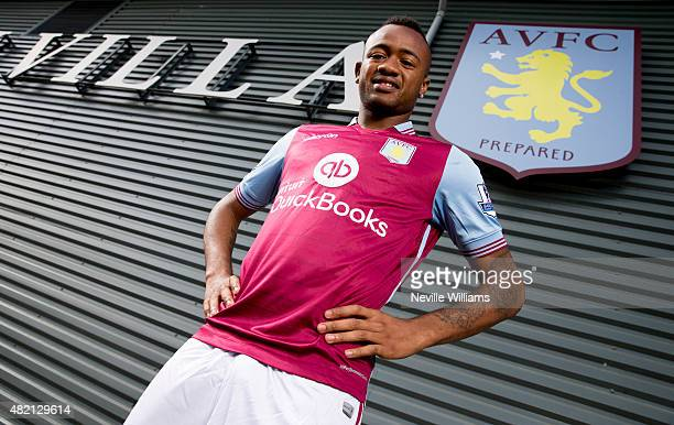 New signing Jordan Ayew of Aston Villa poses for a picture at the club's training ground at Bodymoor Heath on July 27 2015 in Birmingham England