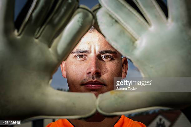 New signing Karl Darlow poses for photographs at The Newcastle United Training Centre with Gloves on August 05 2014 in Newcastle upon Tyne England