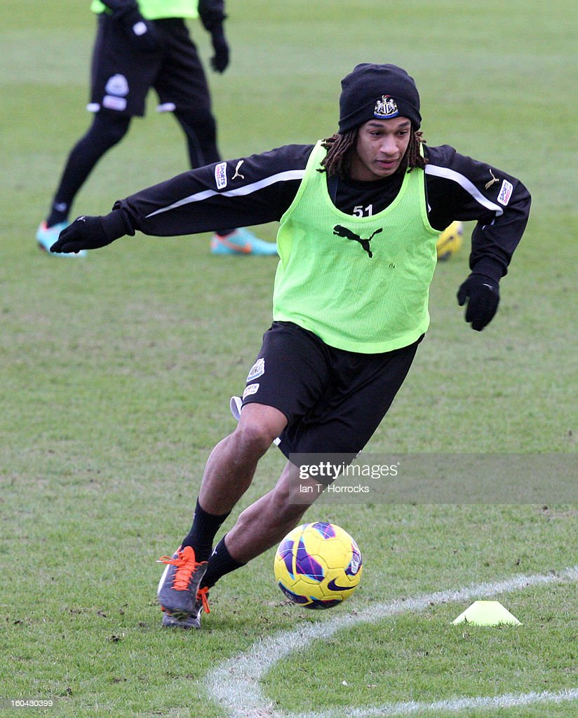 New signing Kevin Mbabu during a Newcastle United training session at The Little Benton training ground on January 31, 2013 in Birmingham, England.