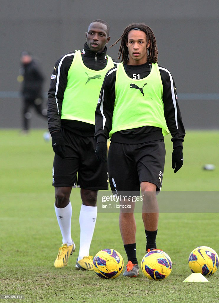 New signing Kevin Mbabu (right) with Moussa Sissoko during a Newcastle United training session at The Little Benton training ground on January 31, 2013 in Birmingham, England.