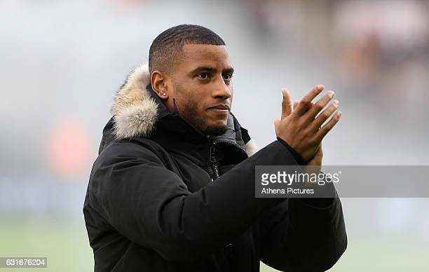 New signing Luciano Narsingh of Swansea City prior to kick off of the Premier League match between Swansea City and Arsenal at The Liberty Stadium on...
