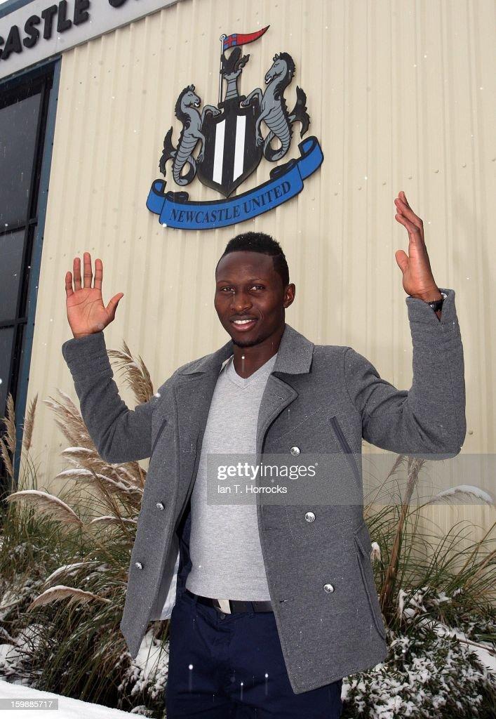 New signing Mapou Yanga-Mbiwa of Newcastle United poses at the Little Benton training ground on January 22, 2013 in Newcastle upon Tyne, England.