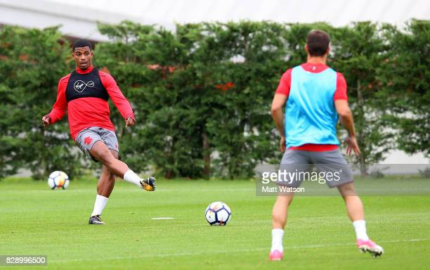 new signing Mario Lemina during a Southampton FC training session at the Staplewood Campus on August 9 2017 in Southampton England