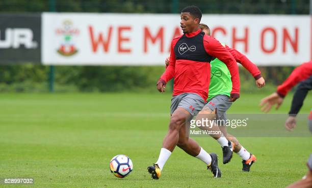 new signing Mario Lemina on his first day at the club with manager Mauricio Pellegrino at the Staplewood Campus on August 9 2017 in Southampton...