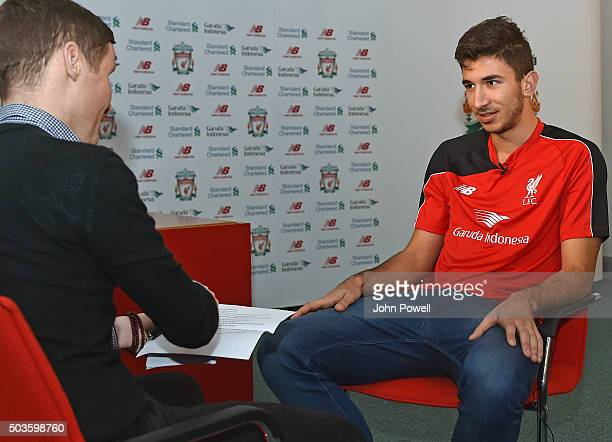 New signing Marko Grujic of Liverpool is unveiled at Melwood Training Ground on January 6 2016 in Liverpool England